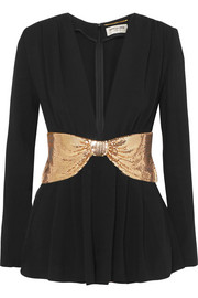 Saint Laurent Playsuit aus Crêpe mit Metallic-Schleife