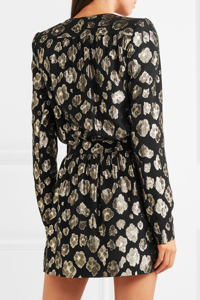 Saint Laurent Wickelkleid aus einer Seidenmischung mit Metallic-Fil-Coupé in Minilänge