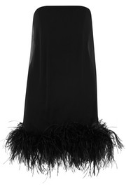 Saint Laurent Mini-robe en mousseline à plumes