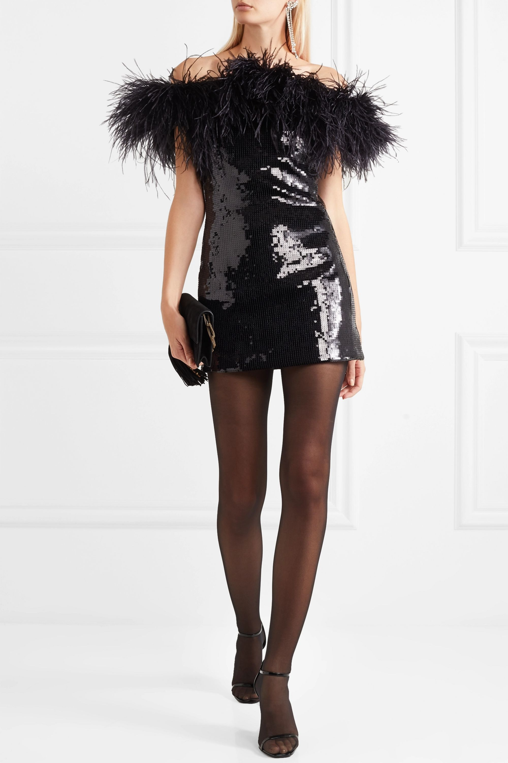 SAINT LAURENT Strapless feather-trimmed sequined crepe mini dress