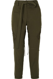 Lace-up cotton and linen-blend twill straight-leg pants