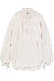 Saint Laurent Oversized cotton and silk-blend blouse