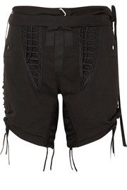 Saint Laurent Lace-up cotton and linen-blend twill shorts