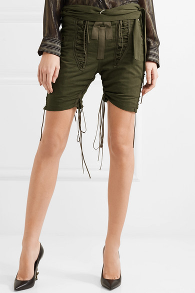 Saint Laurent Twill-Shorts aus einer Baumwoll-Leinenmischung mit Schnürungen