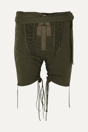 Lace-up cotton and linen-blend twill shorts