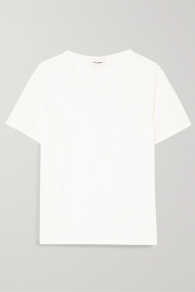 Saint Laurent T-Shirt aus Baumwoll-Jersey in Distressed-Optik