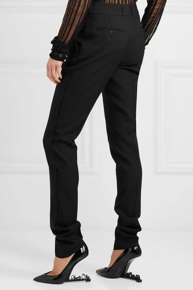 Saint Laurent Trousers With Straight Leg From Wool-gabardine