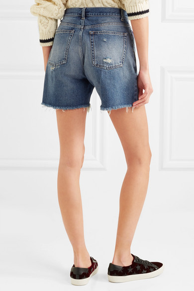 Saint Laurent Jeansshorts in Distressed-Optik