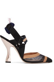 Fendi Mesh, canvas and rubber slingback pumps