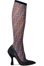 Fendi Logo-print mesh and rubber sock knee boots