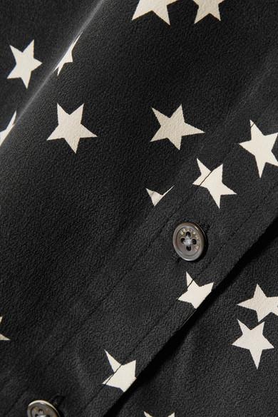 Equipment Slim Signature bedrucktes Hemd aus vorgewaschener Seide