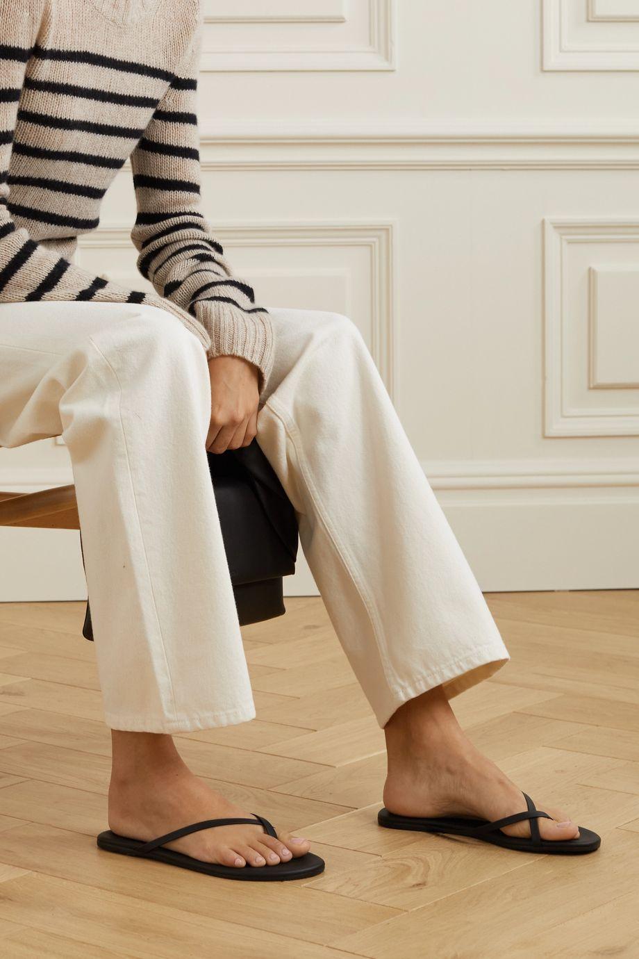 TKEES Riley matte-leather flip flops