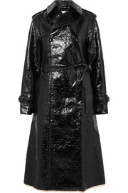 Crinkled coated cotton-blend trench coat