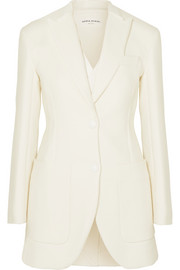 Convertible leather-trimmed cotton-twill blazer