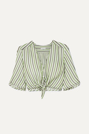 Tie-front striped duchesse-satin top