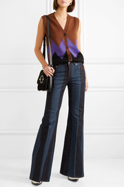 Striped denim mid-rise flared jeans