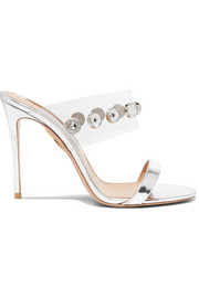 Aquazzura Galaxy embellished PVC and metallic leather mules