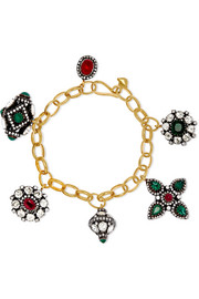 Amrapali 18-karat gold and sterling silver multi-stone bracelet