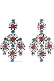 Amrapali 18-karat gold, sterling silver and multi-stone earrings