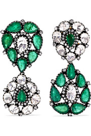 Amrapali 18-karat gold, sterling silver, diamond and emerald earrings