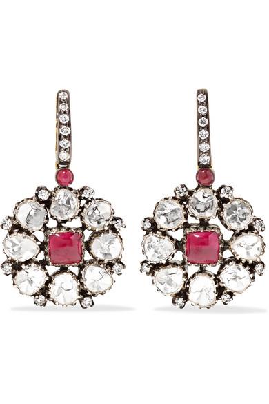 18-karat Gold, Diamond And Ruby Earrings - Silver Amrapali