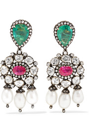 Amrapali 18-karat gold and sterling silver multi-stone earrings