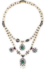 Amrapali 18-karat gold, sterling silver and multi-stone necklace