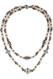 Amrapali 18-karat gold and sterling silver multi-stone necklace