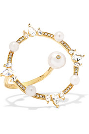 Orbite 18-karat gold, diamond and pearl ring
