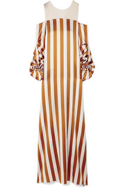 Olinda striped stretch-silk charmeuse gown