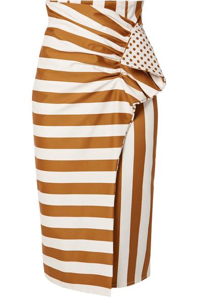 Scilla Printed Cotton Blend Poplin Wrap Effect Midi Skirt by Silvia Tcherassi