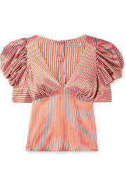 Udine striped silk-blend charmeuse top