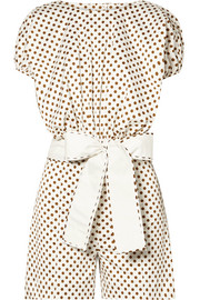 Olona polka-dot cotton-blend poplin romper