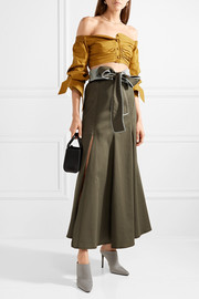 Abate belted stretch-cotton skirt
