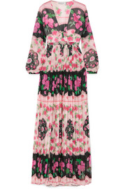 Raquel Diniz Valentina pleated floral-print silk-chiffon maxi dress