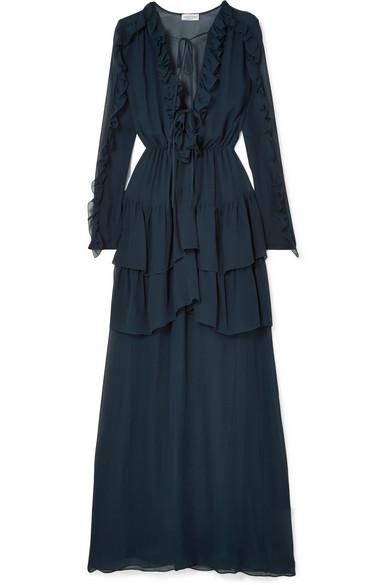 Adah ruffled silk-chiffon gown