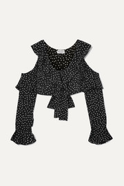 Lucy cropped cold-shoulder polka-dot silk-chiffon top