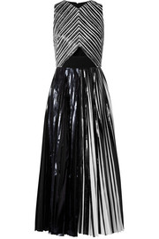 Pleated coated-cloqué gown