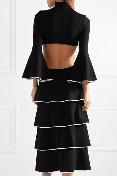 Proenza Schouler Gestufte Robe aus Stretch-Cady mit freier Rückenpartie