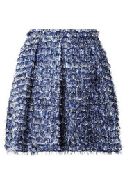 Fringed printed crepe mini skirt