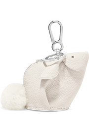 Bunny shearling-trimmed textured-leather bag charm