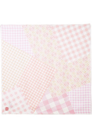 Frayed gingham silk scarf