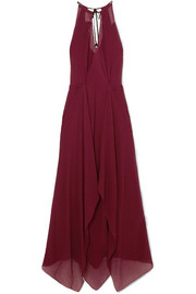 Roland Mouret Risby cutout hammered silk-chiffon gown