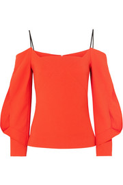 Roland Mouret Brigham cold-shoulder stretch-crepe top