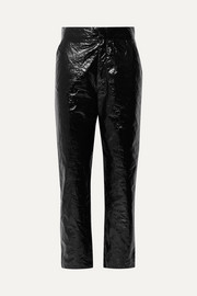Naughty crinkled-vinyl straight-leg pants