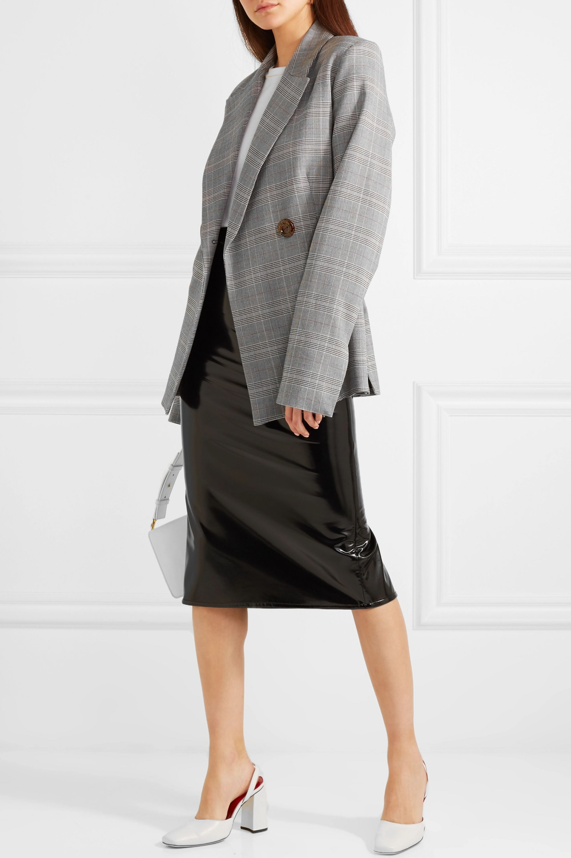 Georgia Alice Memory oversized double-breasted checked woven blazer