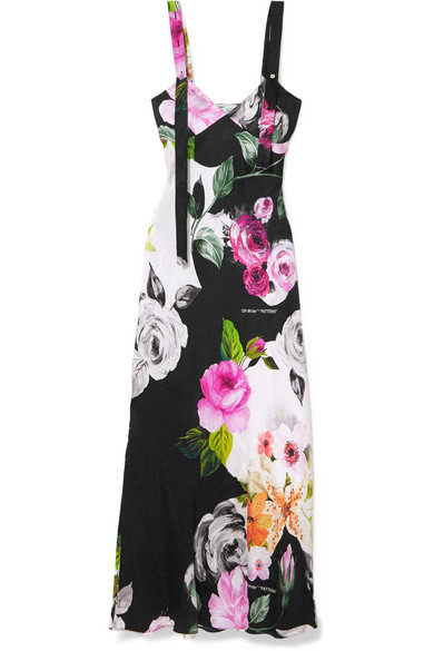 Off-White - Printed Silk-jacquard Dress - Black