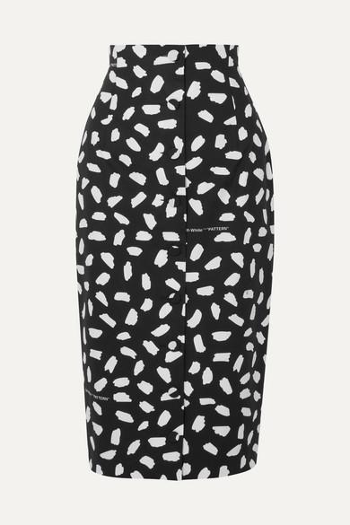 Off-White - Printed Cotton-poplin Midi Skirt - Black