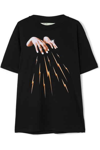 Off-White - Embroidered Printed Cotton-jersey T-shirt - Black