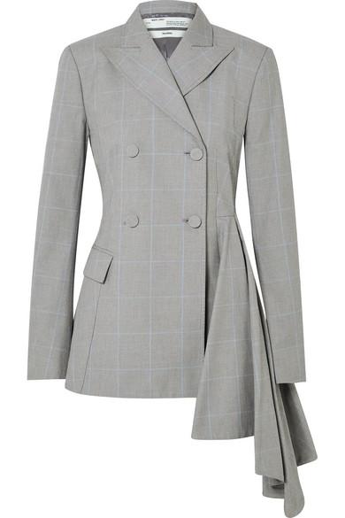 Off-White - Asymmetric Checked Cotton Blazer - Gray